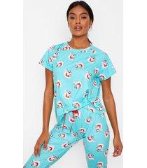 santa in the sun shirt & leggings pyjama set, green