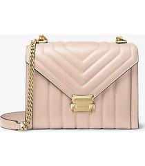 mk borsa a spalla whitney convertibile grande in pelle trapuntata - rosa tenue (rosa) - michael kors