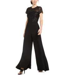 calvin klein sequinned-top wide-leg jumpsuit