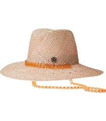 maison michel kate woven fedora hat - neutrals