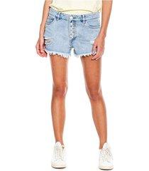 slouchy denim shorts con botonadura externa, rotos y ruedo desflecado color blue