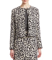 akris punto women's boxy leopard print jacket - off white black - size 14