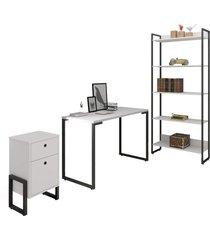 conjunto escritã³rio 3 peã§as mesa 120cm estante 5 prateleiras e gaveteiro 2 gavetas new port f02 branco - mpozenato - unico - dafiti