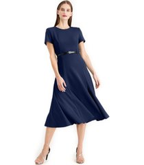 calvin klein belted a line midi dress