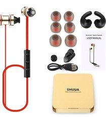 audífonos bluetooth deportivos, shuua ruido magnético sin hilos que cancela el audifonos bluetooth manos libres  en auriculares del oído con el micrófono del deporte(rojo)