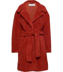 belted teddy coat wollen jas lange jas rood ivyrevel