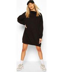 high neck oversized sweatshirt dress, black