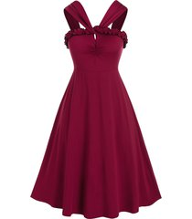 plus size frilled ruched a line midi retro dress