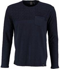 kultivate blauwe sweater materiaalmix