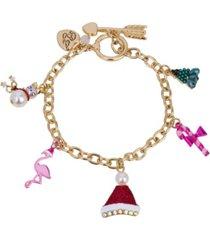 betsey johnson festive flamingo mixed charm bracelet