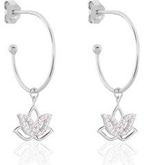 orecchini a cerchio fiore di loto in argento rodiato e zirconi per donna