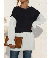 camicetta a maniche lunghe con scollo a o stitch fake 2pcs per donna