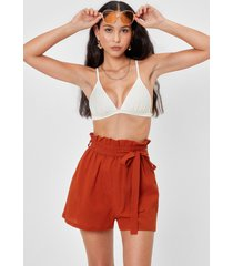womens in the paperbag belted cover-up shorts - rust