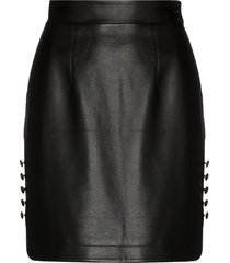 materiel high-waisted faux leather mini skirt - black