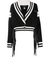 alanui varsity cropped cardigan - black