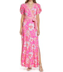lilly pulitzer(r) sailynn floral wrap dress, size x-large in prosecco pink beachy blooms at nordstrom