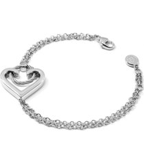 charriol heart cable link bracelet in sterling silver & stainless steel