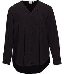 jrveronica ls solid shirt - k noos blus långärmad svart junarose