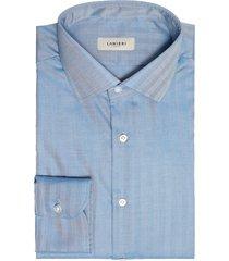 camicia da uomo su misura, canclini, easy iron twill spigato azzurro, quattro stagioni | lanieri