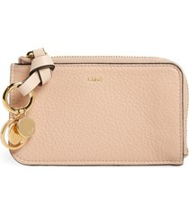 women's chloe alphabet leather card holder - beige