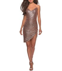 women's la femme ruched sequin cocktail dress, size 0 - pink