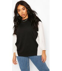 plus contrast woven sleeve sweat tunic top