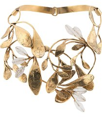goossens structured leaf construct necklace - gold
