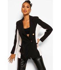 contour colour block blazer met knopen, black