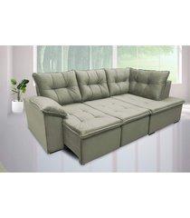 sofá retrátil cama com chaise napoles 2,48 x 1,50m suede amassado cinza - cama inbox