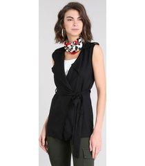 colete feminino com martingale preto