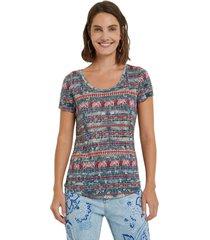 camiseta azul-rojo-blanco desigual