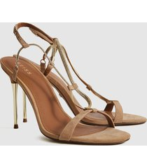 reiss kendall - chain detail heeled sandals in gold, womens, size 10