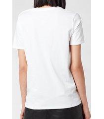 balmain women's 3 button metallic logo t-shirt - blanc/or - l