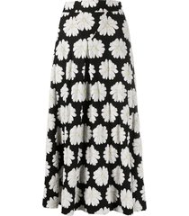 paco rabanne floral high waisted skirt - black