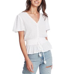 1.state eyelet-embroidered smocked-waist top