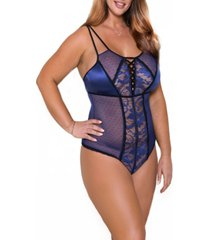 blyth plus size floral lace and dotted mesh lace up bodysuit set