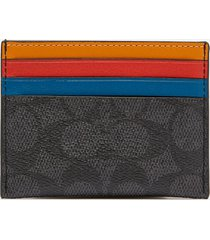 coach men's flat colourblocked card case - charcoal/multi