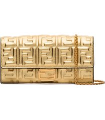 fendi ff-logo baguette clutch bag - gold