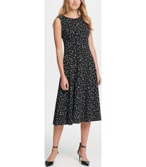 dkny dot print pleated empire waist midi fit & flare dress