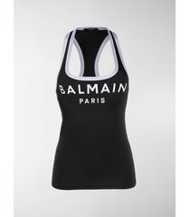 balmain logo printed tankini top