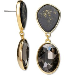 rachel rachel roy gold-tone crystal & gold-fleck black stone drop earrings