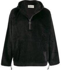 drôle de monsieur velvet ribbed jacket - black