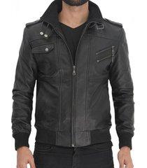 chaqueta de cuero negro body la chamarra