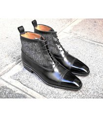 handmade black gray leather ankle boots tweed casual cap toe men formal boot