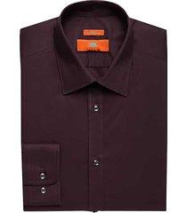 egara orange men's egara burgundy red extreme slim fit dress shirt - size: 16 32/33