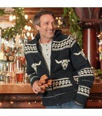 schott nyc corp men's longhorn sweater by sundance in heather black large