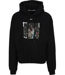 off white pascal print over hoodie