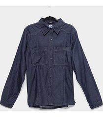 camisa jeans manga longa naif plus size com bolsos feminina
