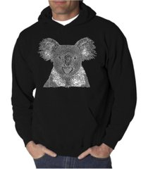 la pop art men's koala word art hooded sweatshirt