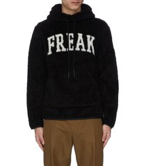 'freak' slogan intarsia fleece hoodie